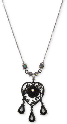 Betsey Johnson Hematite-Tone Filigree Heart Flower & Jet Stone Pendant Necklace