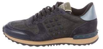 Valentino Rockrunner Denim Sneakers