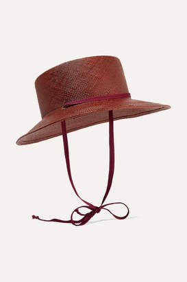 CLYDE Telescope Grosgrain-trimmed Straw Hat - Burgundy