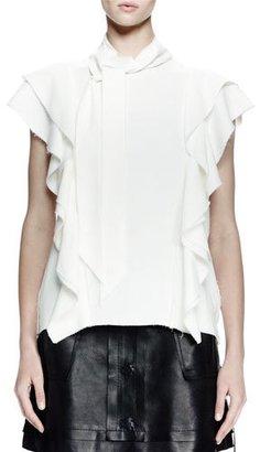Lanvin Cap-Sleeve Blouse W/Ruffles, Ecru $1,690 thestylecure.com