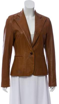 Ralph Lauren Leather Peak-Lapel Blazer