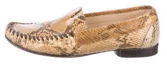 Salvatore Ferragamo Snakeskin Round-Toe Loafers