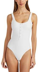 Onia Women's Sandra Ribbed Button-Down One-Piece Swimsuit - White