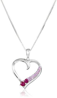 Sterling Silver Round Shaped Created Ruby and Created Pink Sapphire Heart Pendant Necklace