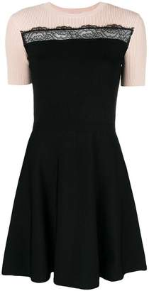 RED Valentino contrast short-sleeve mini dress