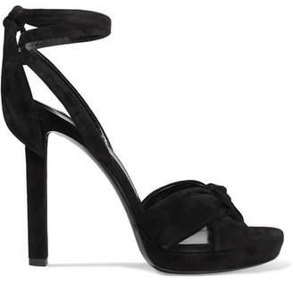 9a8a9f4d87b Saint Laurent Hall Bow-detailed Suede Platform Sandals - Black