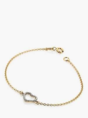 Hot Diamonds 9ct Gold Diamond Ripple Heart Chain Bracelet, Gold
