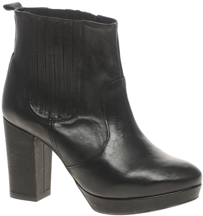 ASOS ALIYA Leather Ankle Boot With Chelsea Gusset And Block Heel