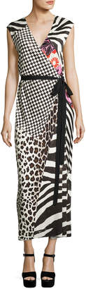 Marc Jacobs Mixed-Media Sleeveless Jersey Wrap Dress, Black