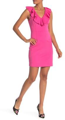 Trina Turk Alpina Ruffled V-Neck Sheath Dress