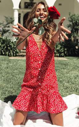 PrettyLittleThing Red Ditsy Floral Button Through Shift Dress