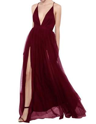 11b09a310b JAEDEN Prom Dress Long Evening Maxi Dresses with Split Evening Gowns  Backless Prom Party Dresses Deep