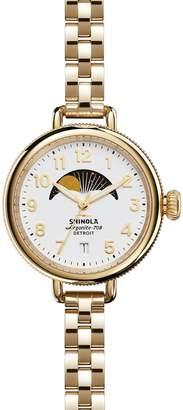 Shinola 'The Birdy' Moon Phase Bracelet Watch, 34mm