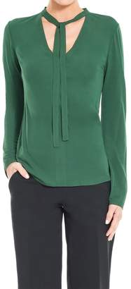 Max Studio Matte Jersey Long Sleeved Pullover With Tie-neck