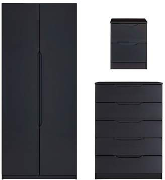 At Very Monaco Ready Embled High Gloss 3 Piece Package 2 Door Wardrobe 5