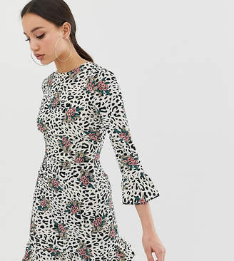 John Zack Tall fluted sleeve tea dress in floral leopard