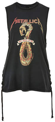 Topshop Metallica Lace-Up Tank Top by And Finally