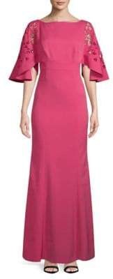 Kay Unger Embroidered Cutout Gown
