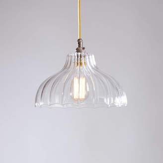 80d05bac43b Factory Glow Lighting Clear Ribbed Glass Style Mary Pendant Light