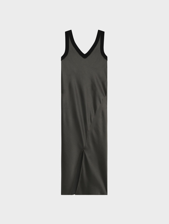 DKNYSleeveless V-Neck Slip Dress With Ribbed Trims