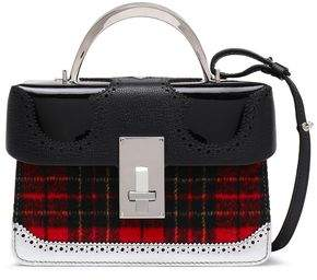THE VOLON Checked Felt, Patent And Textured-leather Shoulder Bag