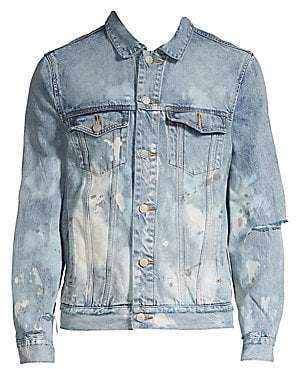 Purple Brand Men's Core Denim Paint Splatter Jacket