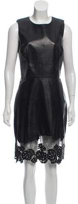 Jason Wu Lace-Accented Leather Knee-Length Dress