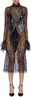 Jonathan Simkhai Tie cuff velvet panel high neck mix lace dress