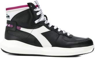 Diadora contrasting panel hi-top sneakers