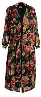 Junya Watanabe Georgette Floral Robe Midi Dress