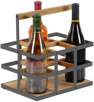 UMA Enterprises Rustic Wood And Metal Wine Rack