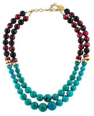 Devon Leigh Turquoise & Dyed Tiger's Eye Bead Strand Necklace