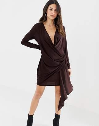 Asos DESIGN Super Plunge Wrap Mini Dress
