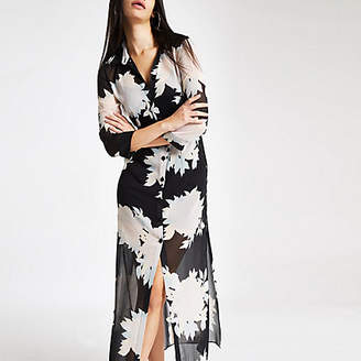 River Island Black floral print button-up maxi shirt dress