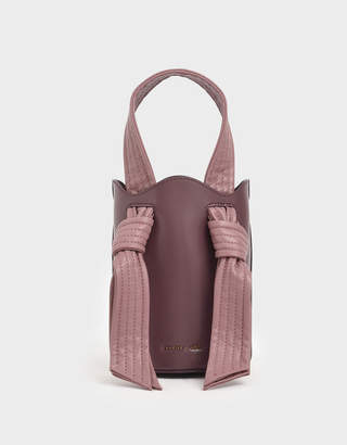 Charles & Keith Ruched Knot Handle Bucket Bag