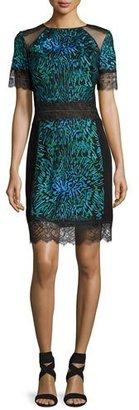 Tadashi Shoji Short-Sleeve Printed Lace-Trim Cocktail Dress, Blue $390 thestylecure.com