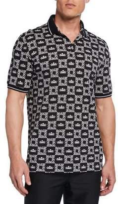 Dolce & Gabbana Men's Graphic Logo-Pattern Polo Shirt