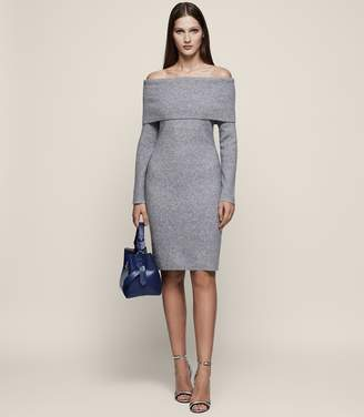 Reiss ELIANA Off-the-Shoulder Knitted Dress Grey