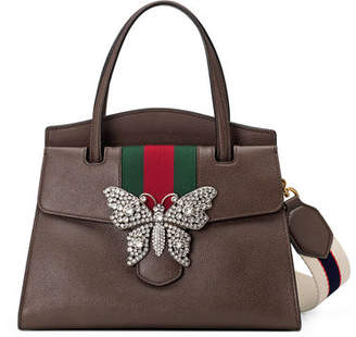 Gucci Linea Totem Medium Leather Top-Handle Bag with Butterfly & Web Strap