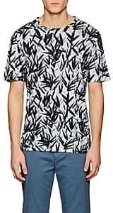 Theory Men's Clean Leaf-Print Slub Linen T-Shirt - Navy