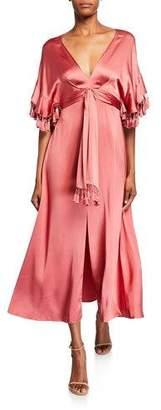 Sachin + Babi Jenny V-Neck Short-Sleeve Tassel-Trim Dress w/ Slit