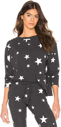 Sundry Star Print Cut Off Sweater