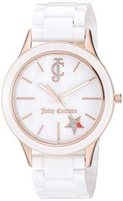 Juicy Couture Black Label Women's Rose Gold-Tone and White Ceramic Bracelet Watch