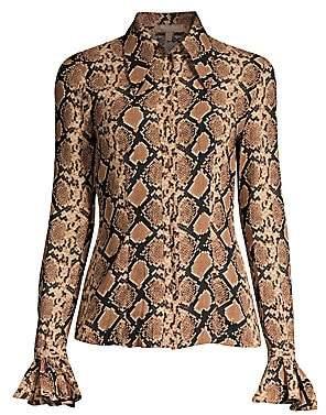 Michael Kors Women's Crushed Bell-Sleeve Silk Blouse