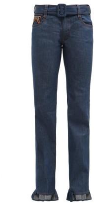 Prada Ruffle Cuffed Jeans - Womens - Denim