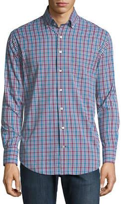 Peter Millar Collier Performance Plaid Long-Sleeve Sport Shirt