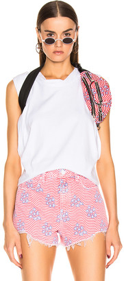 Alexander Wang Draped Racer Back Tank Top in White | FWRD