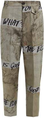 Vivienne Westwood Glen Check And Graffiti Print Cotton Trousers - Womens - Grey Multi