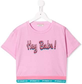 Pinko Kids cropped printed T-shirt