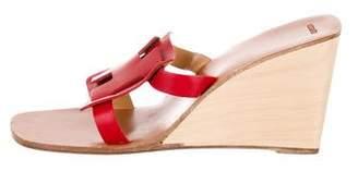Hermes Logo Slide Wedge Sandals
